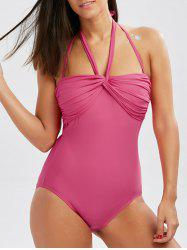 Twist Front Halter One-Piece Swimsuit
