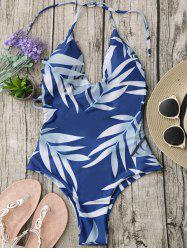 Halter Leaf Print Strappy Swimsuit