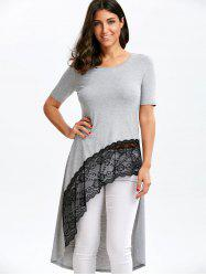 Lace Trim High Low Hem Longline Tee