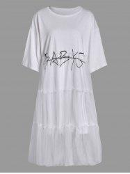 Voile Insert Plus Size Graphic Drop Shoulder Tee Dress