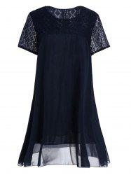 Plus Size Lace Panel Chiffon Flowy Tunic Top