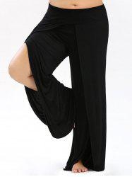 High Split Plus Size Palazzo Pants - BLACK