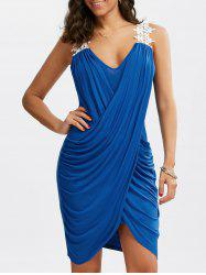 Crochet Panel Overlap Ruched V Neck Dress - BLUE