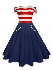 Stripe Off The Shoulder A Line Pocket Vintage Dress - RED
