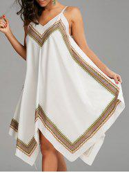 Boho Print Handkerchief Slip Dress - WHITE