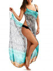Open Back Zebra Print Wrap Cover-Ups Dress - COLORMIX