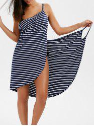 Pinstripe Open Back Cover-ups Dress - STRIPE L