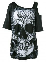 Plus Size Skull Skew Collar Long T-shirt - BLACK