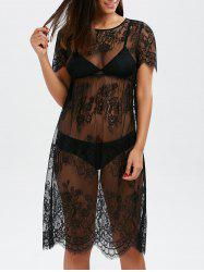 Scalloped Lace Sheer Cover Up Dress for Beach - BLACK