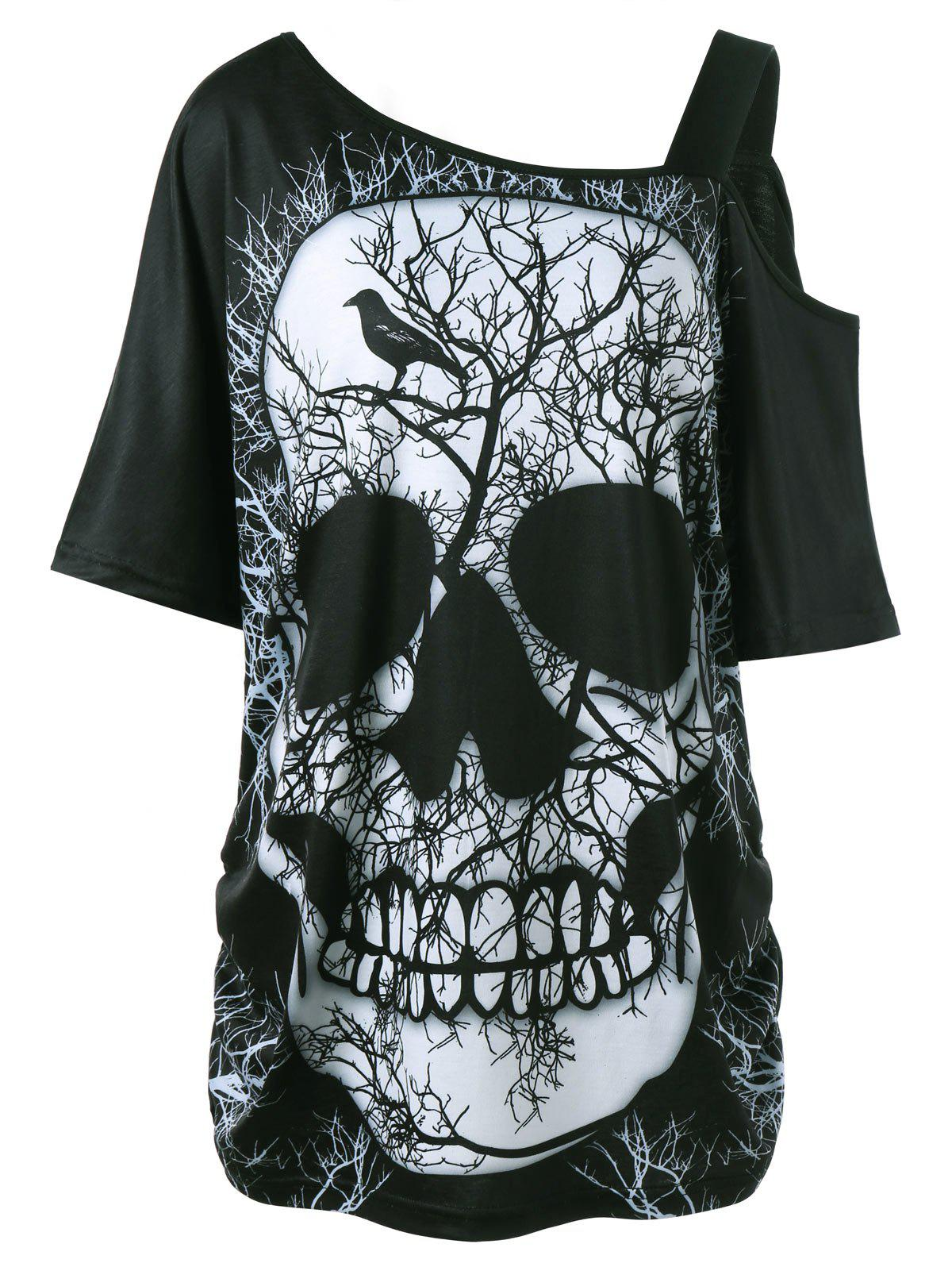 Plus Size Skull Skew Collar Long T-shirtWOMEN<br><br>Size: 5XL; Color: BLACK; Material: Polyester,Spandex; Shirt Length: Long; Sleeve Length: Short; Collar: Skew Collar; Style: Casual; Season: Summer; Pattern Type: Skulls; Weight: 0.3000kg; Package Contents: 1 x T-shirt;