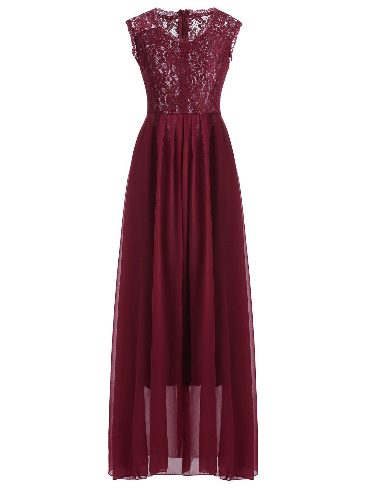 Maxi Lace Top Sleeveless Prom Formal DressWOMEN<br><br>Size: S; Color: DEEP RED; Style: Casual; Material: Lace,Polyester; Silhouette: A-Line; Dresses Length: Ankle-Length; Neckline: Scoop Neck; Sleeve Length: Sleeveless; Pattern Type: Patchwork; With Belt: No; Season: Spring,Summer; Weight: 0.3900kg; Package Contents: 1 x Dress;