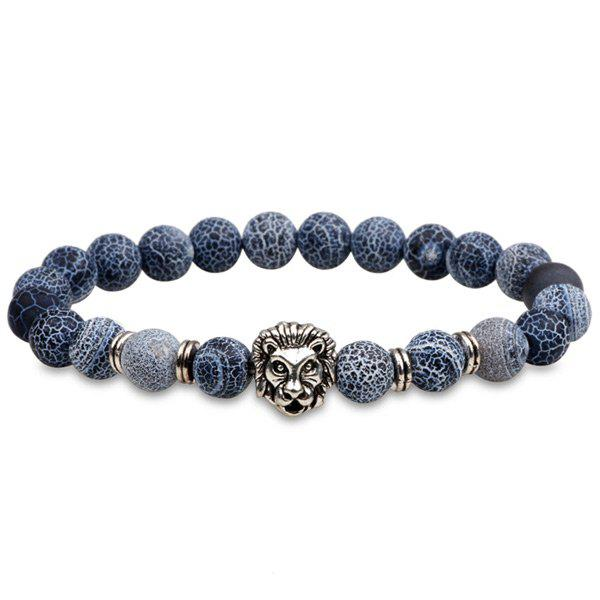 Lion Head Natural Stone Beaded BraceletJEWELRY<br><br>Color: SILVER; Gender: For Men; Chain Type: Beads Bracelet; Style: Trendy; Shape/Pattern: Animal; Length: 6CM (Diameter); Weight: 0.0400kg; Package Contents: 1 x Bracelet;