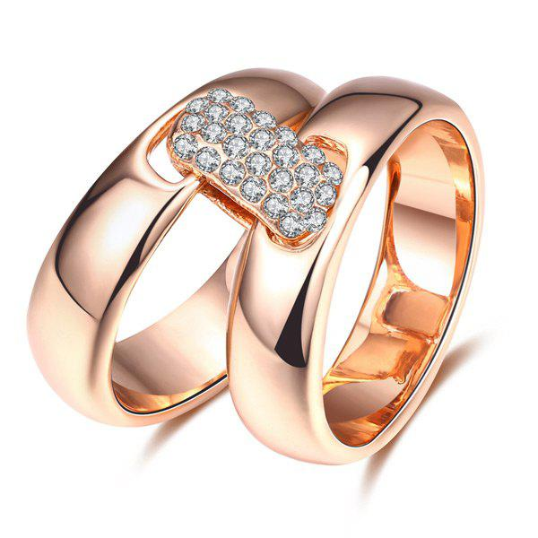 Rhinestoned Double Circle Statement RingJEWELRY<br><br>Size: 8; Color: ROSE GOLD; Gender: For Women; Material: Rhinestone; Metal Type: Others; Style: Noble and Elegant; Shape/Pattern: Round; Weight: 0.0300kg; Package Contents: 1 x Ring;