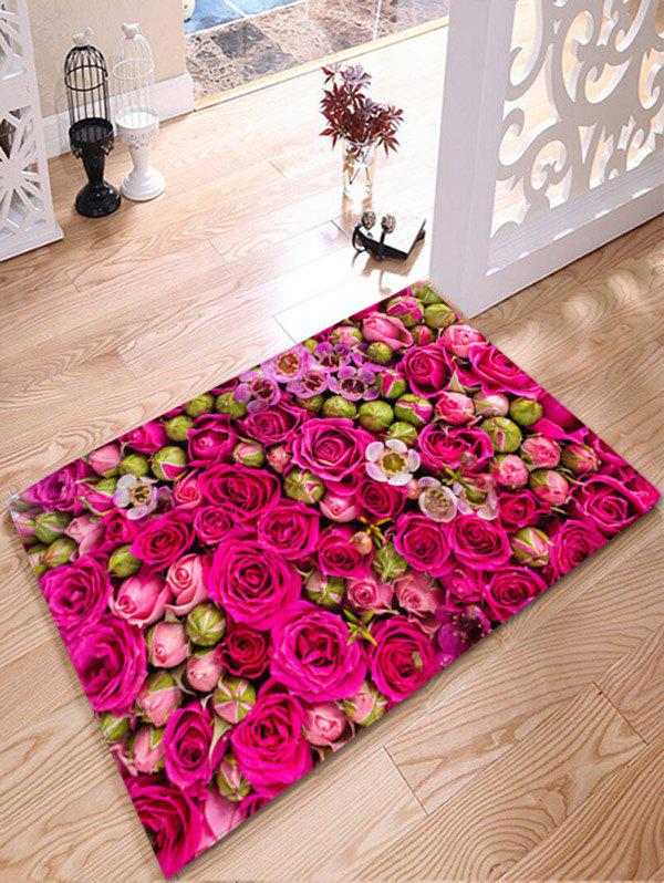 Wedding Rose Print Flannel Water Absorption Bathroom RugHOME<br><br>Size: W24 INCH * L31.5 INCH; Color: ROSE RED; Products Type: Bath rugs; Materials: Flannel; Pattern: Floral; Style: Romantic; Shape: Rectangle; Package Contents: 1 x Rug;
