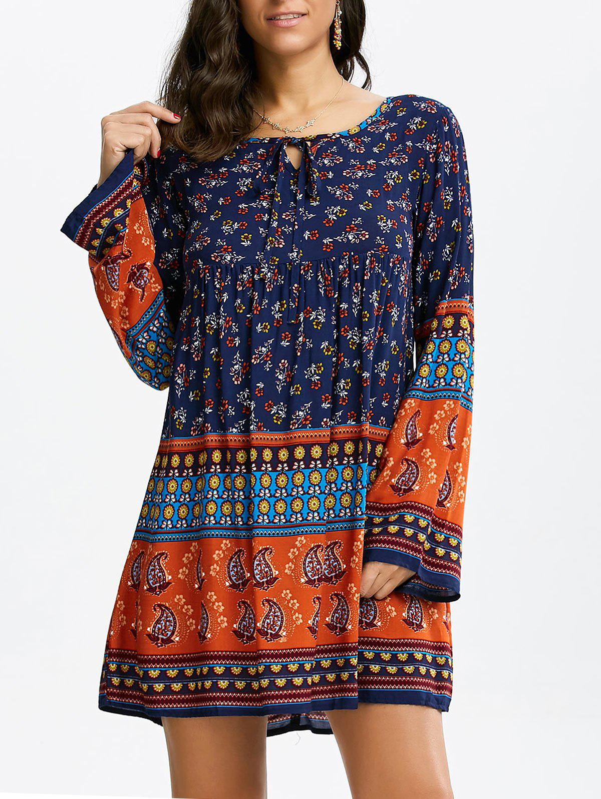 Chic Floral Long Sleeve Mini Shift Tunic Dress