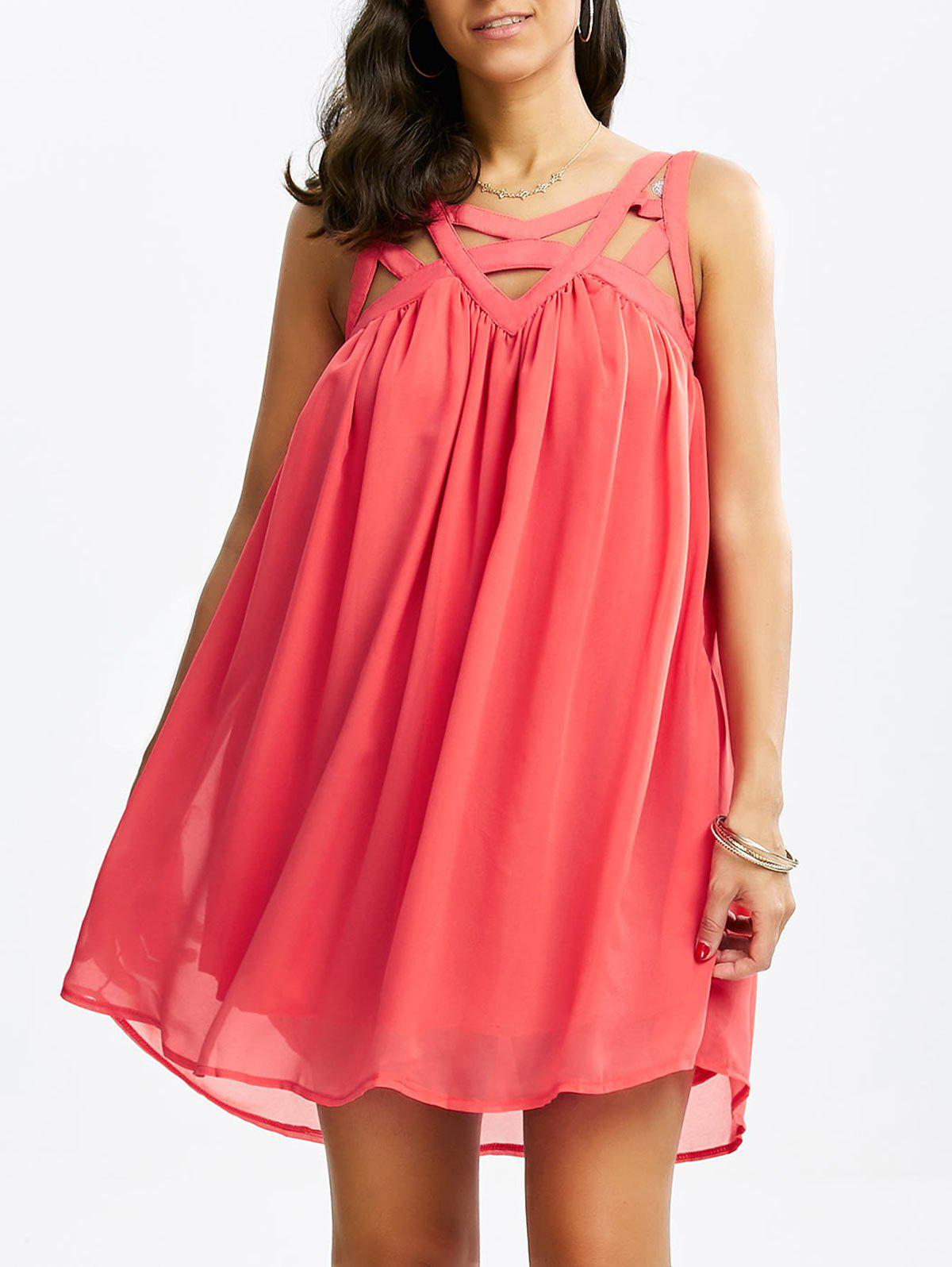 Affordable Caged Cut Out Chiffon Shift Summer Tank Dress