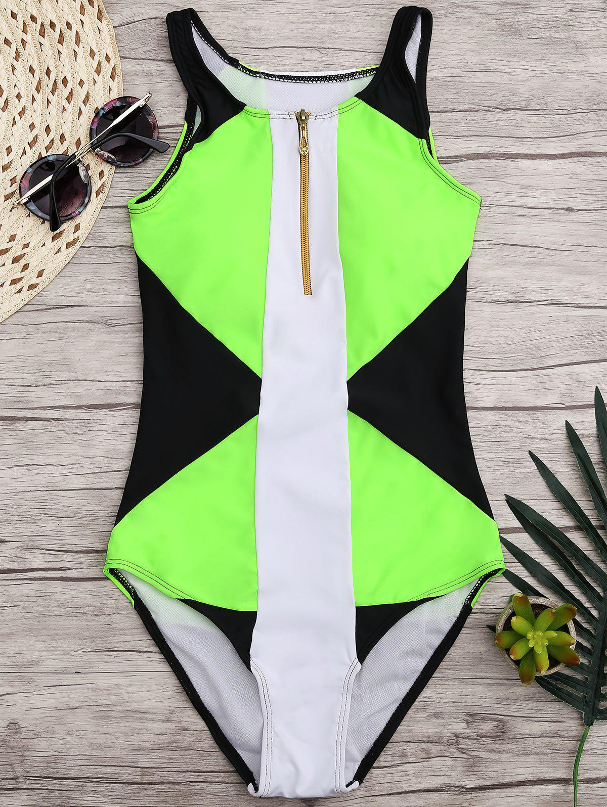 Buy High Neck Color Block One-piece Swimwear