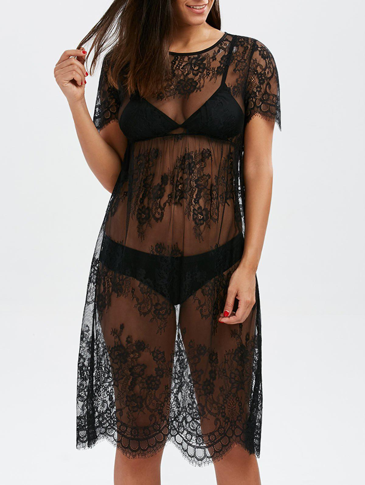 Discount Scalloped Lace Sheer Cover Up Dress for Beach