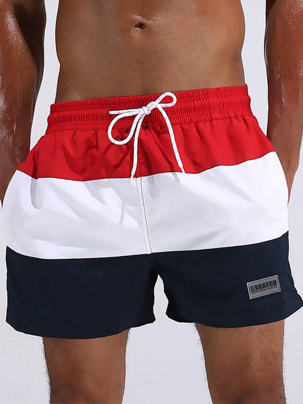 Quick Dry Colorblock Beach ShortsMEN<br><br>Size: L; Color: RED; Style: Casual; Length: Short; Material: Polyester; Fit Type: Loose; Waist Type: Mid; Closure Type: Drawstring; Front Style: Flat; With Belt: No; Weight: 0.2200kg; Package Contents: 1 x Board Shorts;