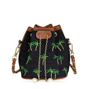Denim Coconut Tree Embroidered Bucket Bag