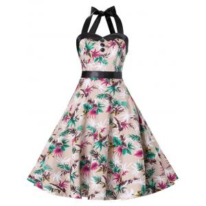 Halter Lace-up A Line Vintage Dress - Complexion - S
