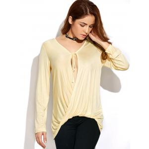 Long Sleeve Tie Neck Twisted T-Shirt - OFF-WHITE 2XL