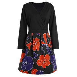 Plus Size V Neck Floral Homecoming Dress