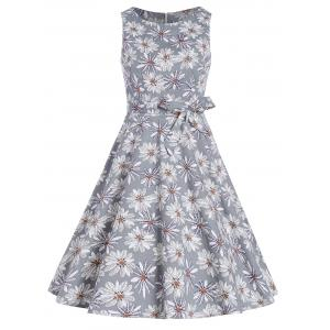 Vintage Floral Fit and Flare Dress - Gray - L