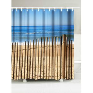 Beach Fence Print Waterproof Fabric Bath Curtain - Sand Yellow - W71 Inch * L71 Inch