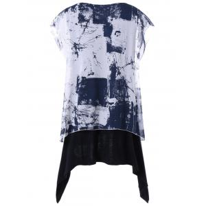Plus Size Layered Graphic Batwing Sleeve T-shirt -