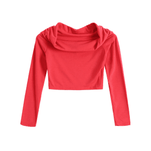 Off Shoulder Long Sleeve Crop Top -