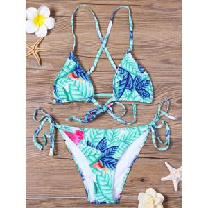 Leaf Print String Bikini Set