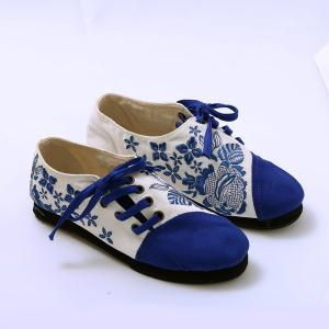Embroidery Lace Up Flat Shoes - Blue - 39