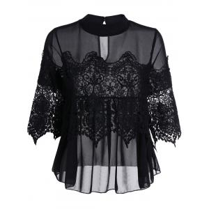 See Thru Lace Insert Chiffon Top