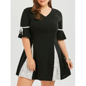 Plus Size Lace Panel Flare Sleeve Skater Dress