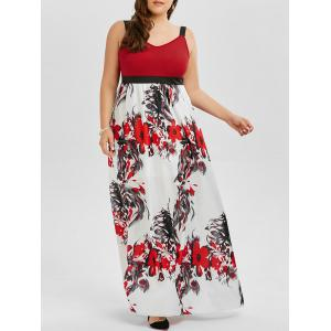 Floral A Line Maxi Plus Size Prom Dress