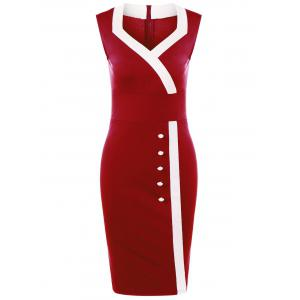 Sweetheart Neck Tight Pencil Fitted Sheath Dress - Red - L