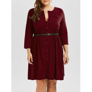 Plus Size V Neck Button Up Dress - Wine Red - 2xl