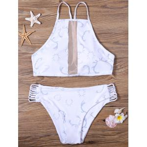 High Neck Padded Bra Sheer Bikini Set