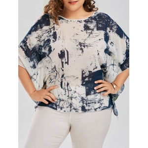 Plus Size Slit Chiffon Cold Shoulder Top