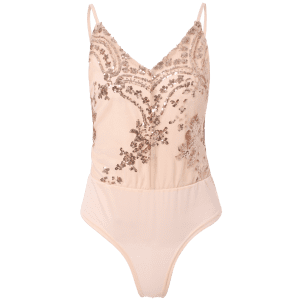 Spaghetti Strap Sequined Bodysuit - PINK M