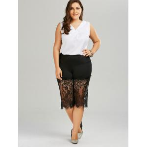 Lace Trim Wide Leg Plus Size Pants -