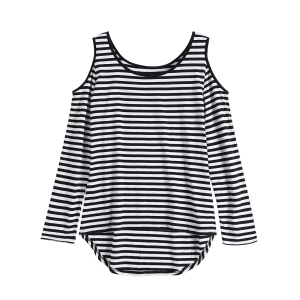 Long Sleeve Scoop Neck Casual Striped Cold Shoulder T-Shirt - BLACK 2XL
