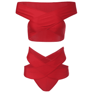 Off The Shoulder Bandage High Waisted Two Piece Bikini - RED M