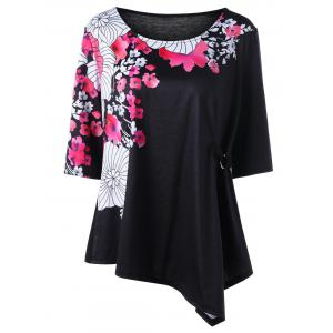 Plus Size Floral Asymmetrical T-shirt - Black - 4xl