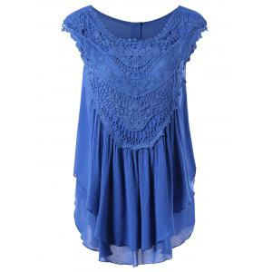 Lace Panel Layered Crinkle Blouse