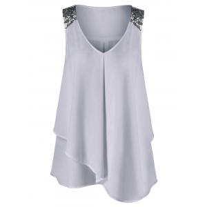 Plus Size Sequined Sleeveless Shoulder Overlap Blouse - Light Gray - 5xl