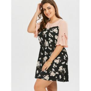 Plus Size Bow Tie Chiffon Floral Dress with Flare Sleeve -