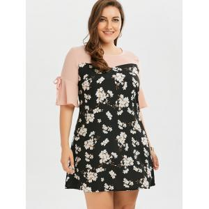 Plus Size Bow Tie Chiffon Floral Dress with Flare Sleeve - FLORAL 5XL