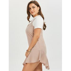 Plus Size Drop Waist Slip Dress and Plain T-shirt - APRICOT 5XL